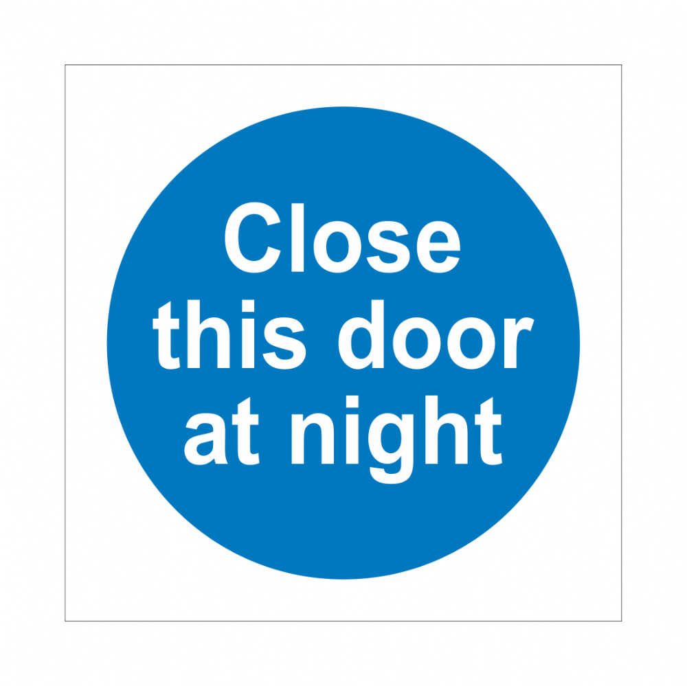 Close This Door At Night Sign | Fire Door Signs | Bath Signs Digital